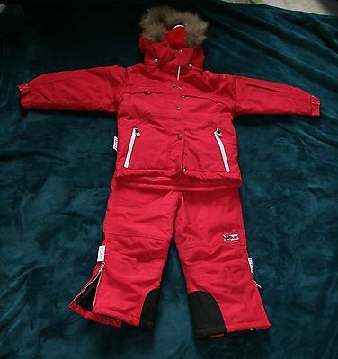 Girls or Unisex Red Ski Suit by Ticket to Heaven Denmark 4 yrs 104 cm