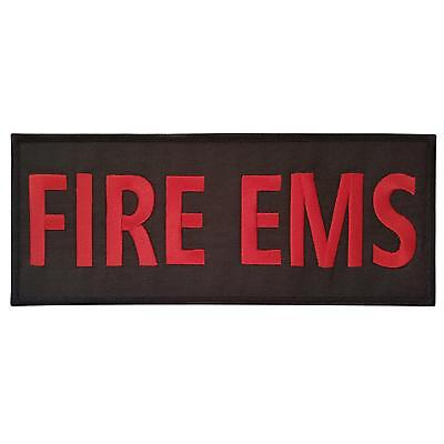 FIRE EMS big XL 10x4 inch embroidered firefighter department patch VELCRO® brand