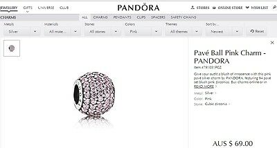 Genuine & Authentic Pandora Pink Pave Ball Charm, Brand New
