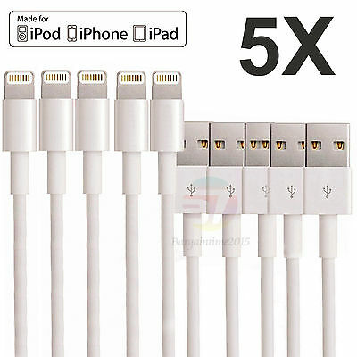 5x Lightning USB Data Cable SYNC Charger For iPhone 5 5C 5S 6 6S SE 7 7P Plus 6P