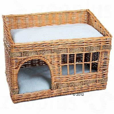 Wicker Cat Den Bed Hideaway Privacy Snuggle Lounging Washable Cushions Napping