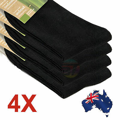 4X Soft Black Mens Socks Bamboo Fibre Odor Resistant Sweat Natural Comfortable