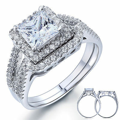 STERLING SILVER Simulated Diamond Princess Halo Engagement 2 Ring Set Size 10 T