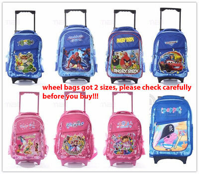 Kids Boys Girls Teen Large Small Trolley Luggage School Bag Day Wheel Backpack