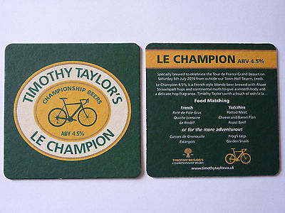 Timothy Taylor's Le Champion 2014 Beermat Coaster