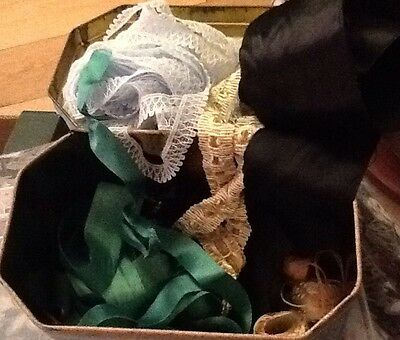 Tin With Vintage Lace And Ribbon