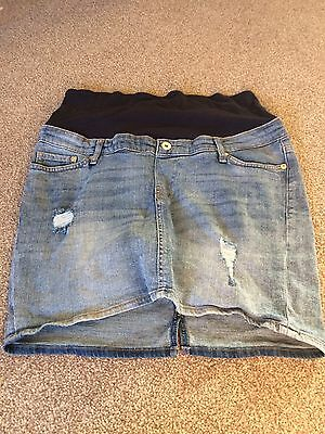 H And M Denim Maternity Skirt Size 14