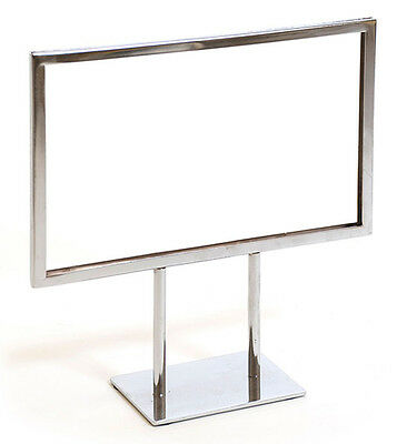 "Countertop Metal Signage Display Holder Stand Chrome 11""W x 7""H Lot of 25 NEW"