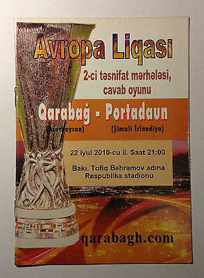 RARE Programm Europe League Qarabag Azerbaijan - Portadown Northern Ireland 2010