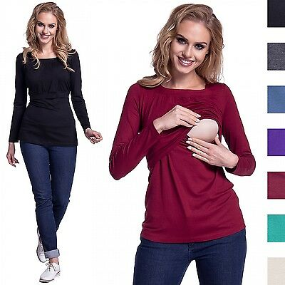 Happy Mama. Women's Maternity Nursing Double Layered Top Round Neckline. 241p
