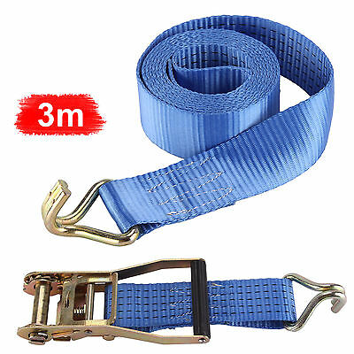 2x Heavy Duty Ratchet Strap 2000Kg 50mm X 3m Tie Down 2 Tons Webbing Polyester