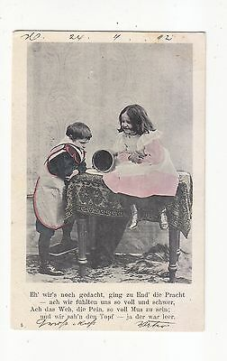 Charming Postcard Of A  Girl And Boy With Tummy Pain-German Card