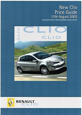 Renault Clio Prices & Specifications Late 2005 UK Market Foldout Brochure