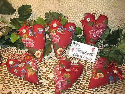 6 Handmade Floral Fabric Valentine Heart Bowl Fillers Ornies Ornaments Garland