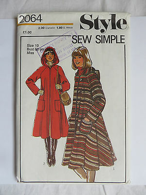 Vintage 1970s 1977 Style Sew Simple womens coat sewing pattern Size 10 Unused