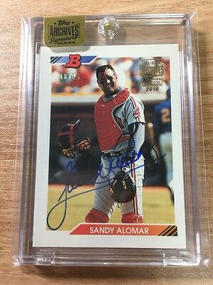 2016 Topps Archives Autograph 1992 Buyback Sandy Alomar Indians AUTO 8/26