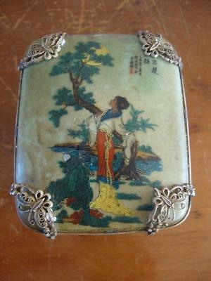 Fine Antique Chinese Porcelain Hand Painted Lidded Box. C1910.