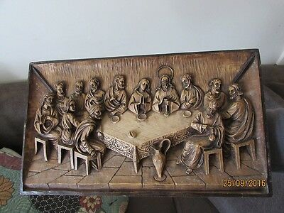 Vintage Hand Carved 3D Wooden LAST SUPPER Wall Plaque