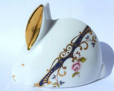 Limoges White Rabbit Bunny Decorated With Flowers And Gold