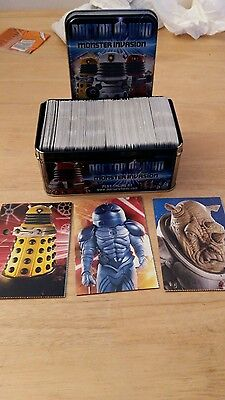 doctor who monster invasion job lot 359 cards in collectors tin wit 3 postcards