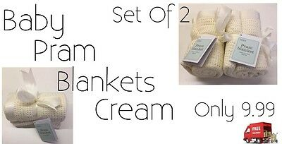 Baby Pram Blankets Set Of 2 Cream Brand New And Boxed