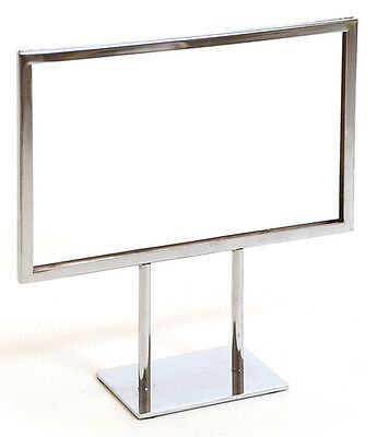 "Countertop Metal Signs Display Holder Stand Chrome 11""W x 8-1/2""H Lot of 25 NEW"