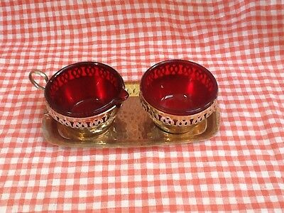 Vintage Milk Creamer Jug and Sugar Bowl With Red Glass Inserts Liners And Tray