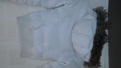 Girls White Hooded  Puffa Jacket Abercrombie & Fitch Age 12/13 Vgc