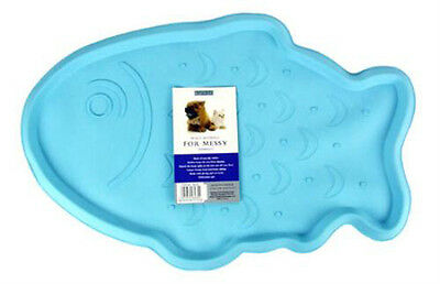 Light Blue Rubber Fish Cat Feeding Place Mat by Rosewood