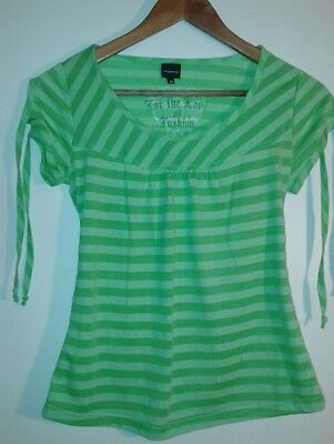 Cute green stripy tshirt - suitable for XS ladies / girls - Truworths - exc cond