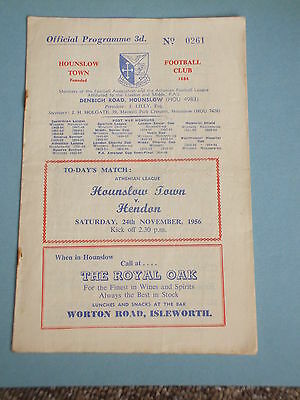 Hounslow Town v Hendon 1956/57 Athenian League