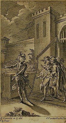 Original 18th Century Engraving, Vandergucht, Gravelot, Shakespeare Scene, 1740