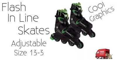Skates Flash Wired Adjustable In Line Skates Shoe Size 13-3 New Ideal Gift Idea