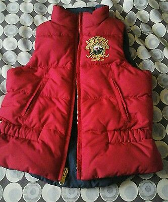 Ralph Lauren Red & Navy Padded Bodywarmer/gilet Age 3-4 Years Zip Up Front