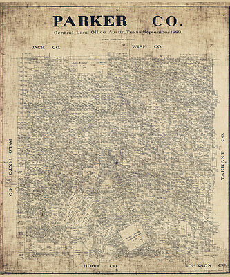 1889 Map of Parker County Texas