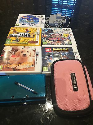 Nintendo 3DS Hand Held Console aqua blue with 5 Games