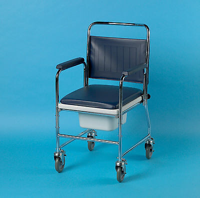 Patterson Chrome Plated Steel Wheeled Mobile Commode Chair 512DBAPH