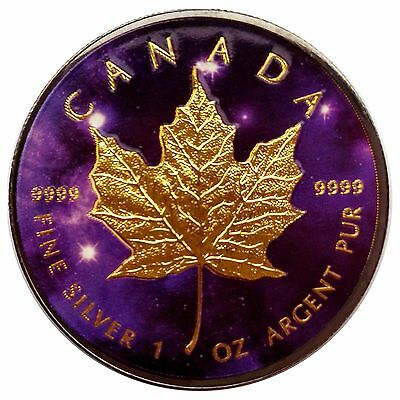 1 oz Canada Silver Maple Leaf Ruthenium and Gold plated, Colorized Coin Universe