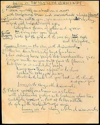 The Beatles Repro Lucy In The Sky With Diamonds Lyrics Written By John Lennon