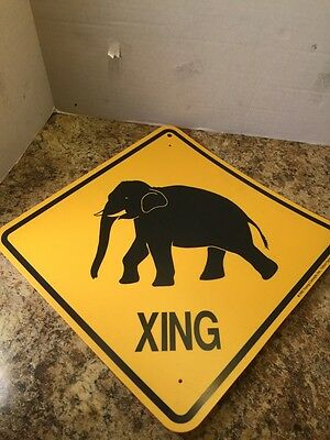 """Rare 1992 Young Concepts Elephant Crossing Xing Sign Plastic Novelty 12"""" x 12"""""""