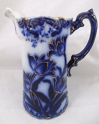 """Outstanding Antique Vintage 7 1/8"""" Tall Flow Blue Tulips With Gold Trim Pitcher"""