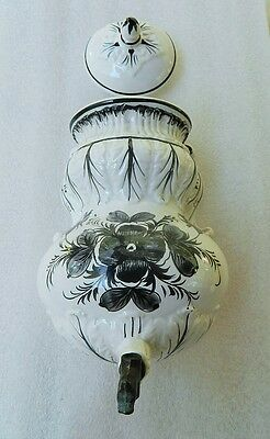 Vintage Lavabo Wall Fountain Pocket 2 Pc Black White Floral Acanthus Leaf Italy