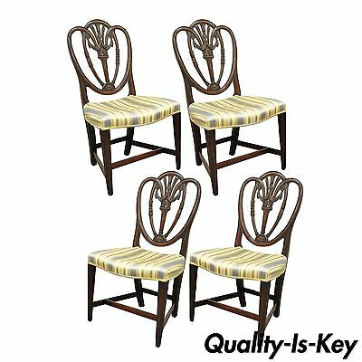 Set 4 Antique Hepplewhite Shield Back Drape Carved Mahogany Dining Room Chairs