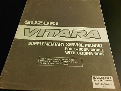 Suzuki Vitara Supplementary Service Manual 5 Door Model with Sliding Roof
