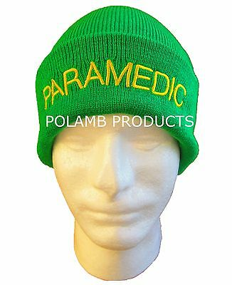 PARAMEDIC Beanie / Woolly Hat (LGT GREEN) for Ambulance Medic Emergency St John