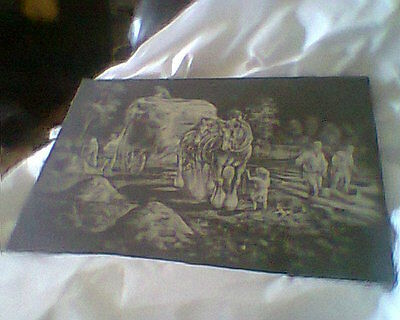Lovely Slate Etching Of A Farmer Hay Gathering