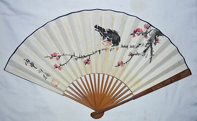 """China Ming Kingdom Old Bamboo Fan Painting Antique""""bird&flower""""calligraphy 明代 仇英"""