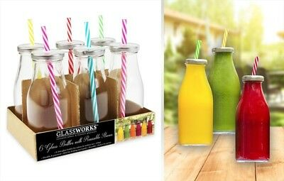 Glass Drinking Bottles With Lids Set of 6, 250ml