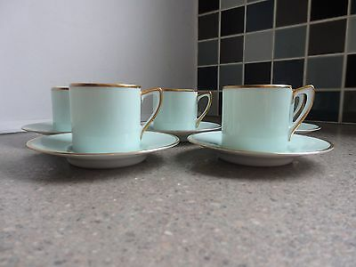 Noritake 5 Coffee Cans and Saucers in Duck Egg Blue Lustre with Gold Trim