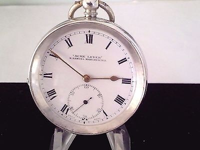 Antique Solid Silver   H Samuel Acme Lever  Pocket Watch  1915 Serviced